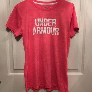 Pink Under armour logo shirt - size small